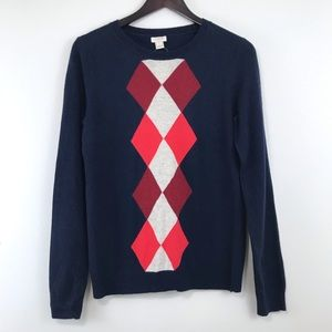 J. Crew Factory Blue Argyle Wool Sweater